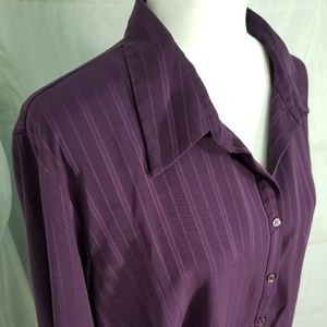 Silky purple long sleeve button up blouse